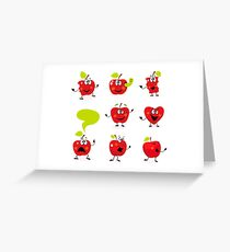 Funny red Apple fruit characters isolated on white background Greeting Card