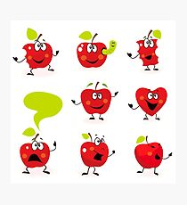 Funny red Apple fruit characters isolated on white background Photographic Print