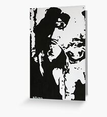 Abstract Woman in a Black Hat Greeting Card