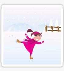 Illustration of little Girl training Ice figure skating Sticker