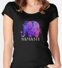 Namaste Elephant Peaceful Watercolor Fitted Scoop T-Shirt