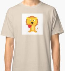 Cute little lion with red heart isolated on white Classic T-Shirt