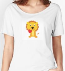 Cute little lion with red heart isolated on white Women's Relaxed Fit T-Shirt