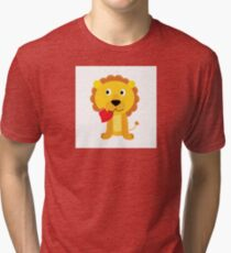 Cute little lion with red heart isolated on white Tri-blend T-Shirt