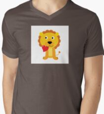 Cute little lion with red heart isolated on white T-Shirt