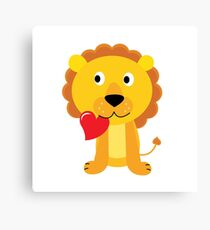 Cute little lion with red heart isolated on white Canvas Print