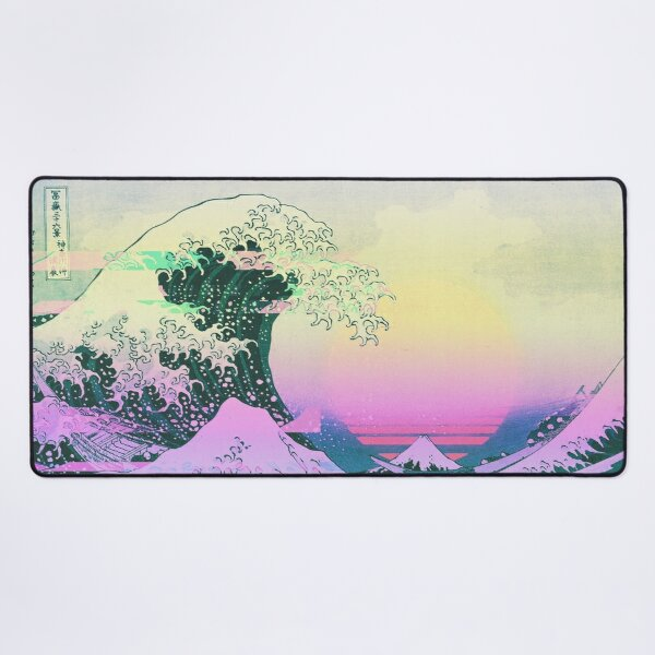 Aesthetic Vaporwave Great Wave Off Kanagawa Retro Desk Mat