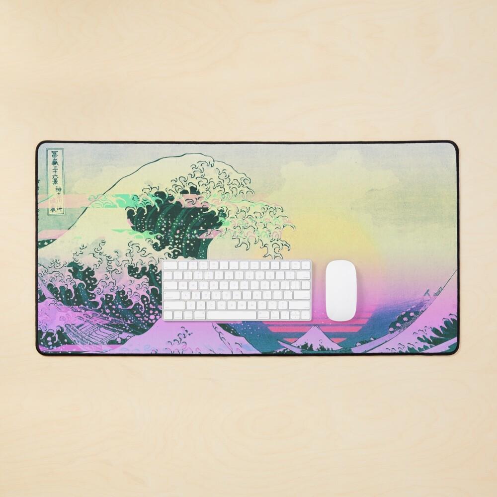Aesthetic Vaporwave Great Wave Off Kanagawa Retro Mouse Pad