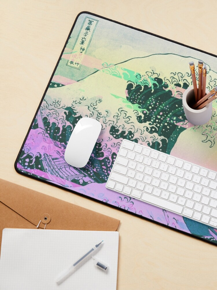 Alternate view of Aesthetic Vaporwave Great Wave Off Kanagawa Retro Mouse Pad
