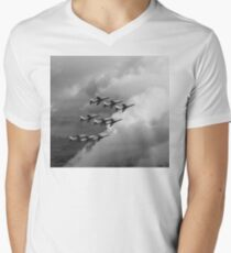 Cloud riders: the Red Arrows black and white version Men's V-Neck T-Shirt