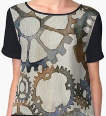 Cogs Watercolor Painting Chiffon Top