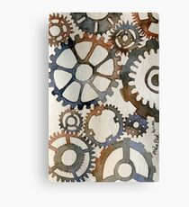 Cogs Watercolor Painting Canvas Print