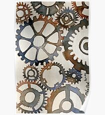 Cogs Watercolor Painting Poster