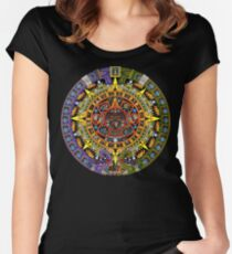 Aztec Calendar Sun Stone - Full Color Women's Fitted Scoop T-Shirt