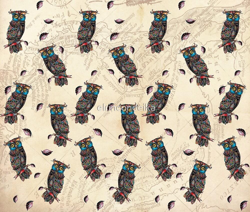 «Estampado Búhos al Atardecer» de elrincondeika