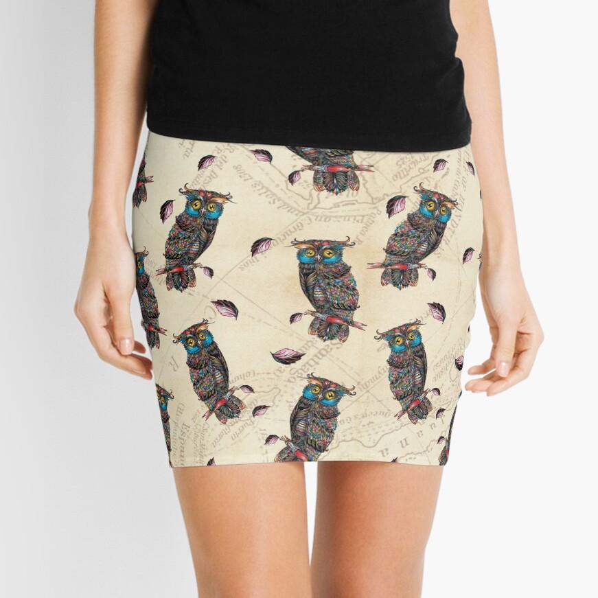 Estampado Búhos al Atardecer Minifalda