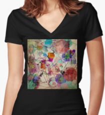 Abstract Expressionism Women's Fitted V-Neck T-Shirt