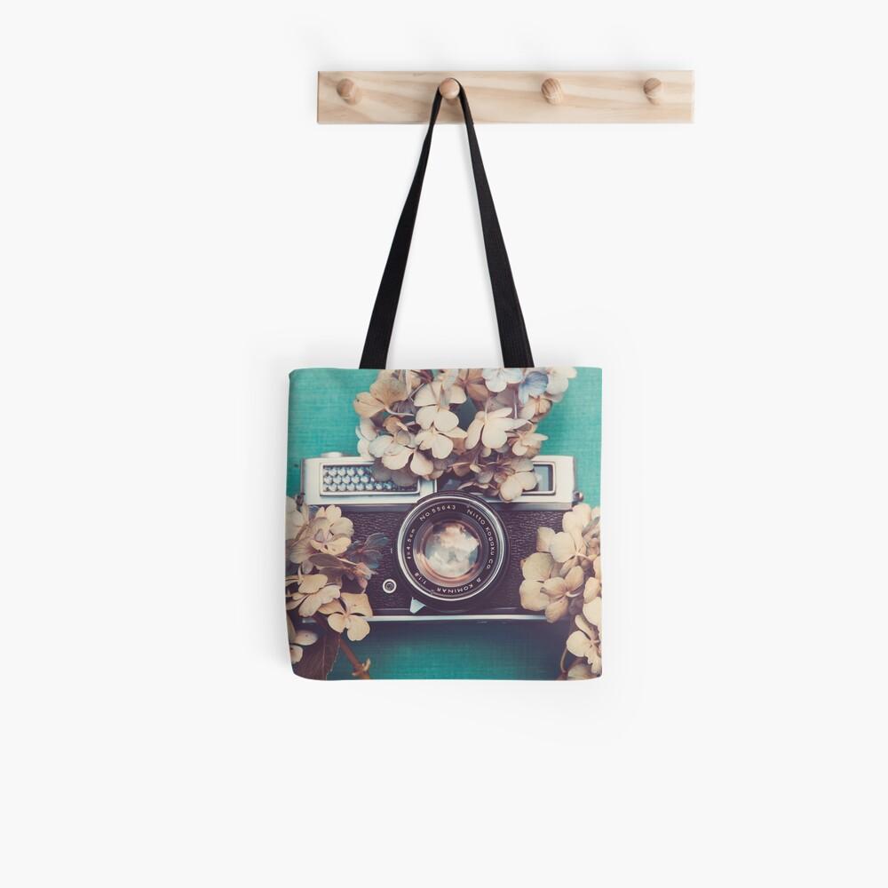 Camera & Hydrangea Tote Bag