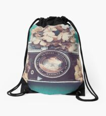 Camera & Hydrangea Drawstring Bag