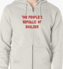 The People's Republic of Boulder (red letters) Zipped Hoodie