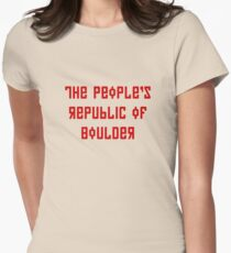 The People's Republic of Boulder (red letters) Women's Fitted T-Shirt
