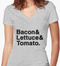 Bacon & Lettuce & Tomato  (black letters) Women's Fitted V-Neck T-Shirt