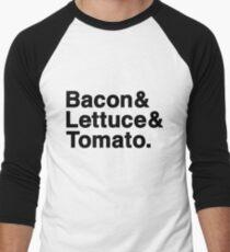 Bacon & Lettuce & Tomato  (black letters) Men's Baseball ¾ T-Shirt