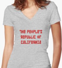 The People's Republic of California (red letters) Women's Fitted V-Neck T-Shirt