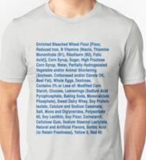 Twinkie ingredients (blue text on light color shirts) Unisex T-Shirt
