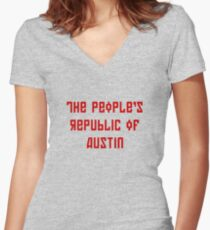 The People's Republic of Austin (red letters) Women's Fitted V-Neck T-Shirt