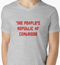 The People's Republic of Cambridge (red letters) Men's V-Neck T-Shirt