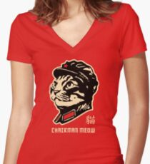 Chairman Meow Communist Cat Women's Fitted V-Neck T-Shirt