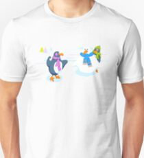 Penguins snowball fight Unisex T-Shirt