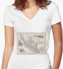Vintage Map of Mexico (1851) Women's Fitted V-Neck T-Shirt