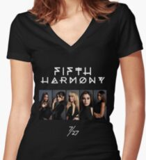 Fifth Harmony 7/27 Portrait #WhiteText Women's Fitted V-Neck T-Shirt