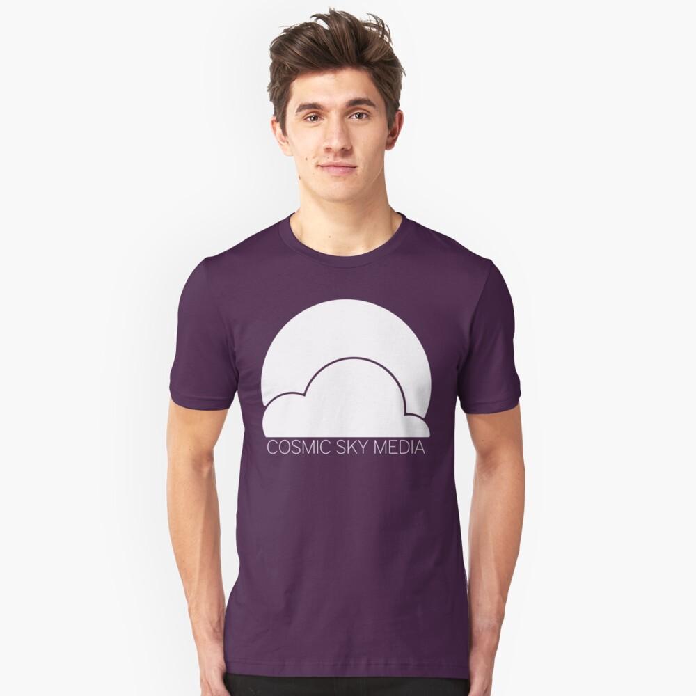 Cosmic Sky Media Logo (White) Unisex T-Shirt Front