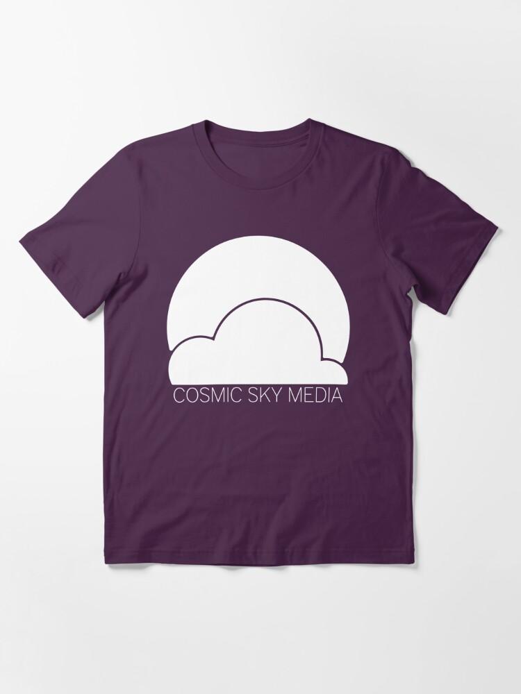 Alternate view of Cosmic Sky Media Logo (White) Essential T-Shirt