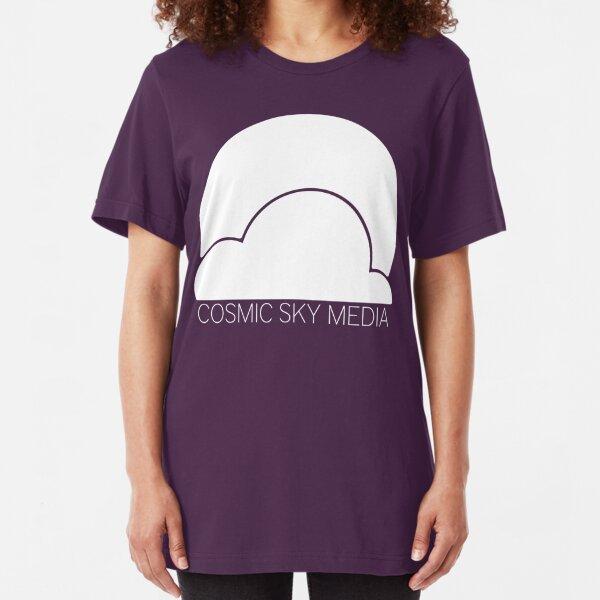 Cosmic Sky Media Logo (White) Slim Fit T-Shirt