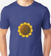 Sunflower Graphic Design, Solid Yellow and Brown Unisex T-Shirt
