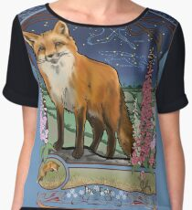 Fox and Foxgloves Constellation Vulpecula Art Nouveau Style Women's Chiffon Top