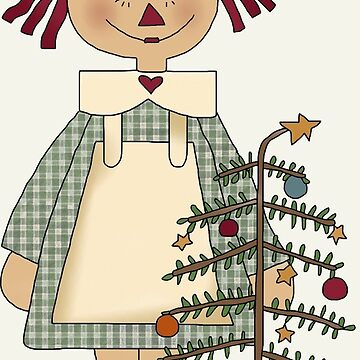 Christmas Raggedy Girl Doll by Whimsydesigns