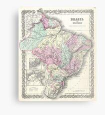 Vintage Map of Brazil (1855) Metal Print