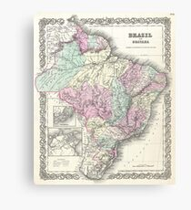 Vintage Map of Brazil (1855) Canvas Print