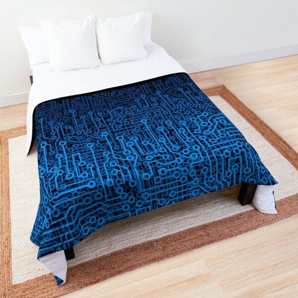 Reboot III BLUE Computer Circuit Board Pattern Comforter