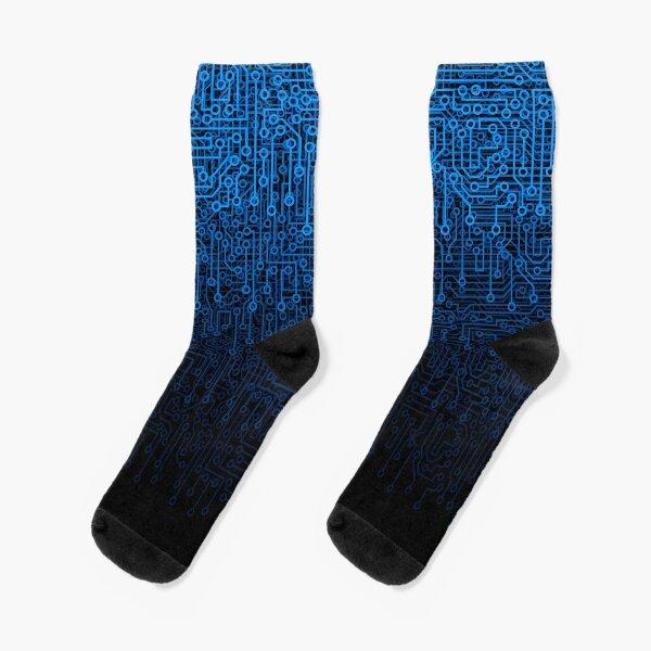 Reboot III BLUE Computer Circuit Board Pattern Socks