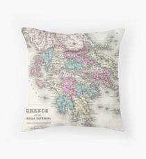 Vintage Map of Greece (1855)  Throw Pillow