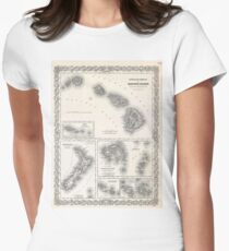 Vintage Map of Hawaii and New Zealand (1855) T-Shirt