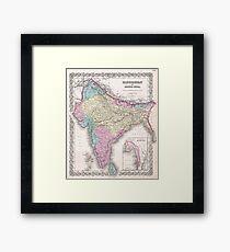Vintage Map of India (1855) Framed Print