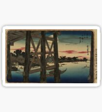 View of full moon from the scaffolding beneath a bridge - Hokusai Katsushika - 1890 Sticker