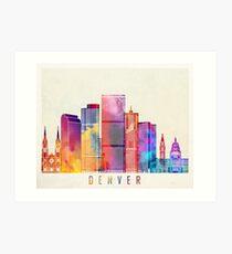 Denver landmarks watercolor poster Art Print